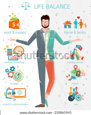 Concept of work and life balance / Split of human energy between important life spheres / Vector illustration. - stock vector