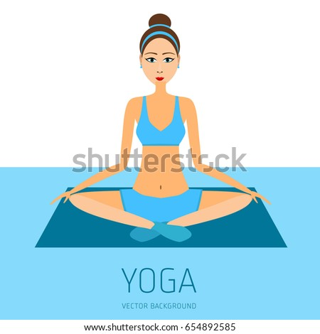 Concept of yoga, health improvement, meditation, vector background, banner, abstract silhouette