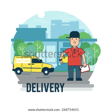 Concept on the subject of delivery. The man with the premise at the office. - stock vector