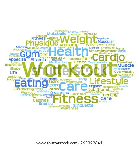 Concept or conceptual abstract word cloud on white background as metaphor for health, nutrition, diet, wellness, body, energy, medical, fitness, medical, gym, medicine, sport, heart or science - stock vector