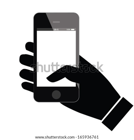 concept phone design with hand. vector illustration - stock vector