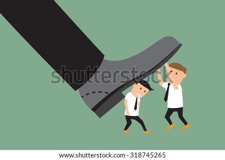 concept photo of conflict between subordinate and boss. businessman battle with the big feet. vector illustration. - stock vector