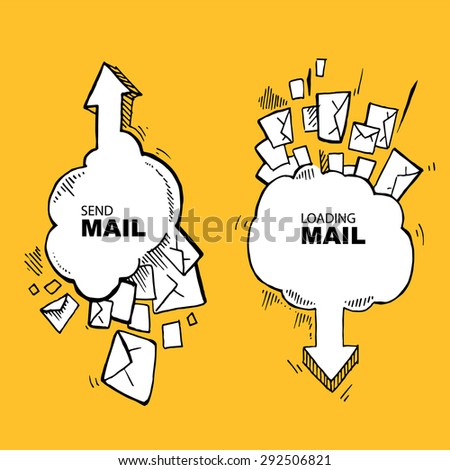 Concept pictures with flying of big letters. Two big icons. Send and loading e-mail - stock vector