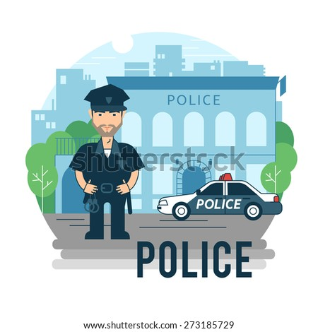 Concept policeman at work. Bearded police in cartoon style. - stock vector
