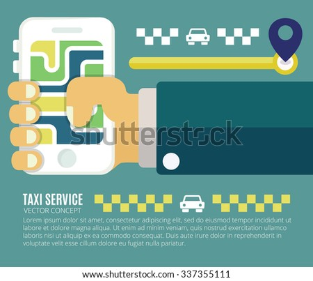 Concept process of booking taxi. Smartphone and touchscreen with gps navigation. - stock vector