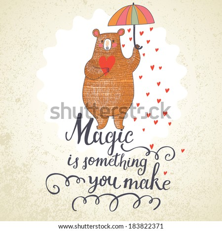 Concept romantic card with cute bear and the rain made of hearts. Bright invitation card in vector - stock vector