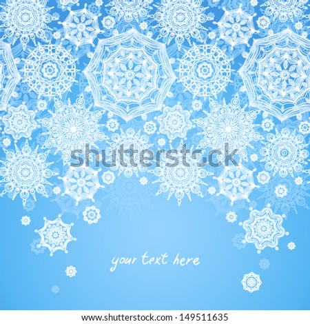 Concept seamless border with snowflakes place for your text. Light winter background. It can be used for decorating of invitations, greeting cards, decoration for bags. - stock vector