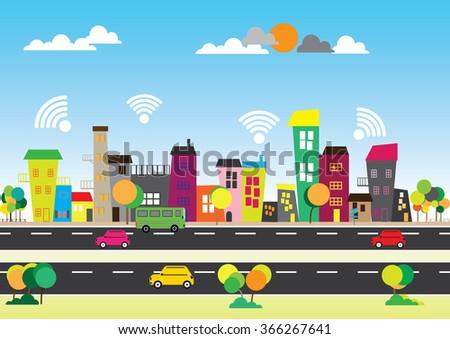 Concept social media city. Free wifi. - stock vector