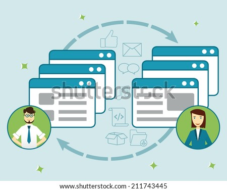Concept social network. Sharing information - vector illustration - stock vector