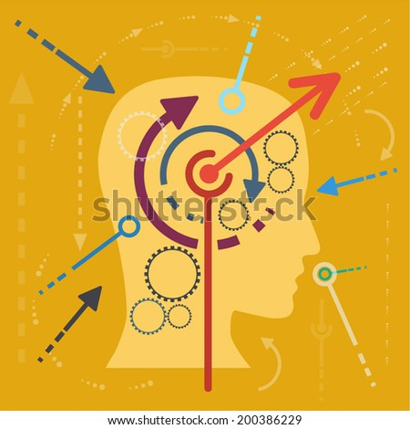 Concept stimulate the mind, flat design - stock vector