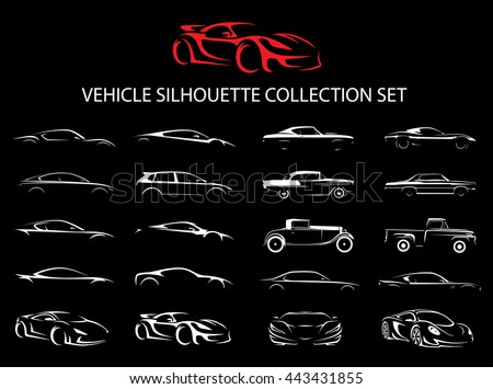 Concept supercar and regular motor car vehicle silhouette icon collection set. Vector illustration.
