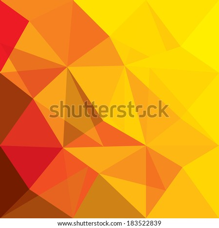 concept vector background of orange, red geometric shapes of polygons, triangles, rhombus, etc - stock vector