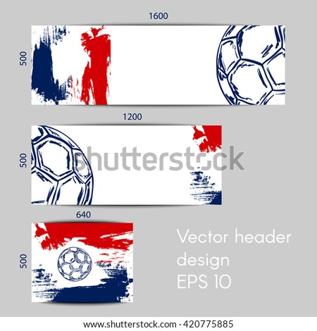 Concept vector banners for football championship with soccer ball and a flag colors - stock vector