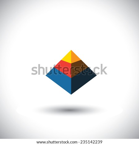 concept vector 3d triangle icon in shape of polyhedron made of yellow orange red blue color slabs - stock vector
