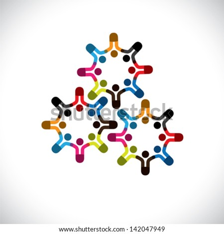 Concept vector graphic- abstract children or workers teams as cogs. The illustration represents concepts like worker unions, employee diversity, community friendship & sharing, kids playing, etc - stock vector