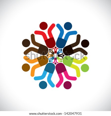 Concept vector graphic- abstract colorful children celebrating icons ( signs ). The illustration shows concepts like worker unions, employee diversity, community friendship & sharing, kids playing,etc - stock vector
