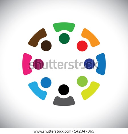 Concept vector graphic- abstract colorful company employees sharing icons ( signs ). The illustration shows concepts like workers, employee diversity, community friendship & sharing, kids playing, etc - stock vector