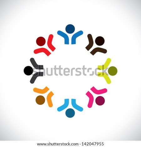 Concept vector graphic- abstract colorful happy people icons ( signs ). The illustration represents concepts like worker unions, employee diversity, community friendship & sharing, kids playing, etc - stock vector
