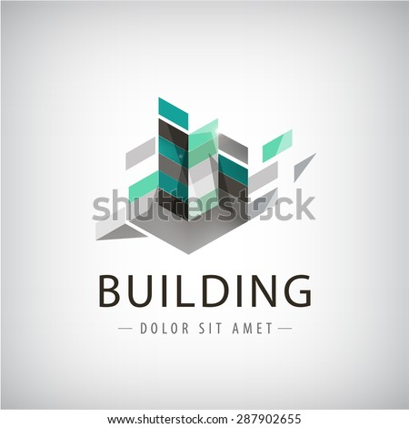Concept vector graphic - Colorful buildings of urban skyline. The logo template shows modern buildings in abstract way. Building logo, structure, architecture - stock vector