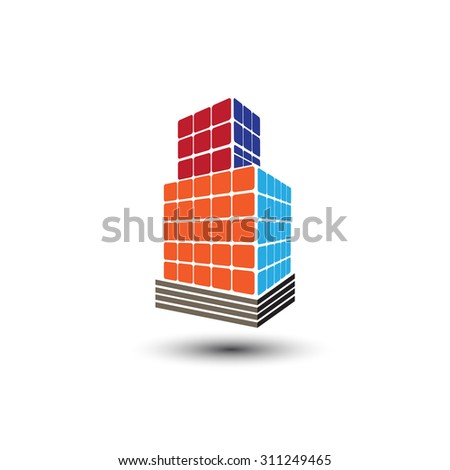 Concept vector graphic - Colorful buildings of urban skyline with skyscrapers,tall towers and streets in colors like red,orange,blue & yellow. The logo template shows modern buildings in abstract way. - stock vector