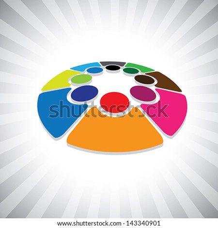 Concept vector graphic- 3d colorful  children or kids icons(symbols). The illustration can also represent concepts like employee unions,community friendship & sharing,kids playing,etc - stock vector