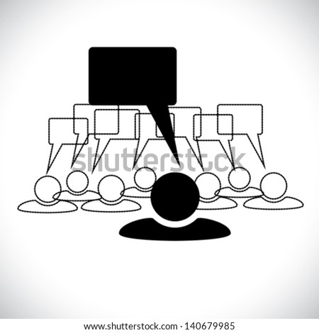 Concept vector graphic- leader & staff talking ( speech bubbles ). This illustration can also represent people chatting, teamwork, employee conversation & interaction, worker discussions, etc - stock vector