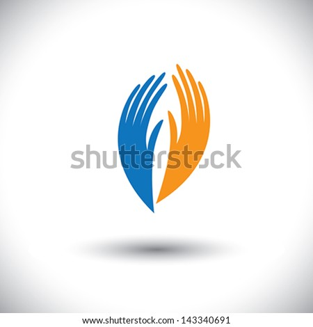 Concept vector graphic- woman's palm symbols representing friendship. The illustration also represents concepts like peace, partnership, tranquility, etc - stock vector