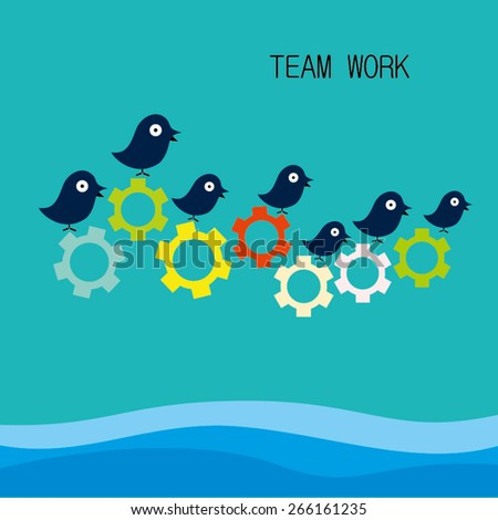 Concept Vector Graphics - birds rotate gears are signs of  team work - stock vector