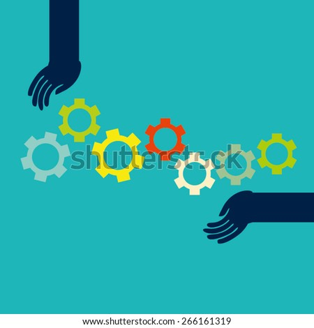 Concept Vector Graphics - human hands rotate gears shows team work - stock vector