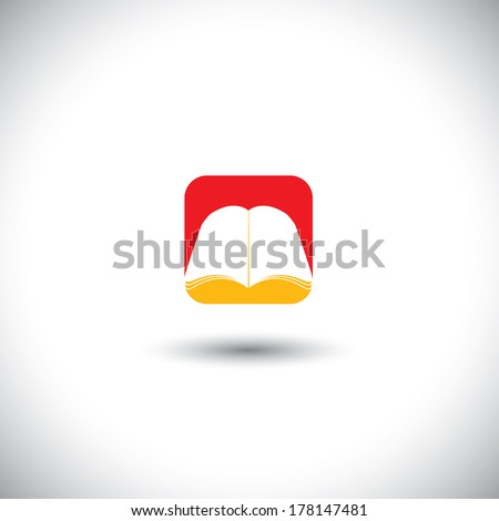 Concept vector icon - book symbol in red & yellow colors. This graphic illustration also represents magazine, encyclopedia, paperback, empty booklet, ebook, brochure, etc - stock vector