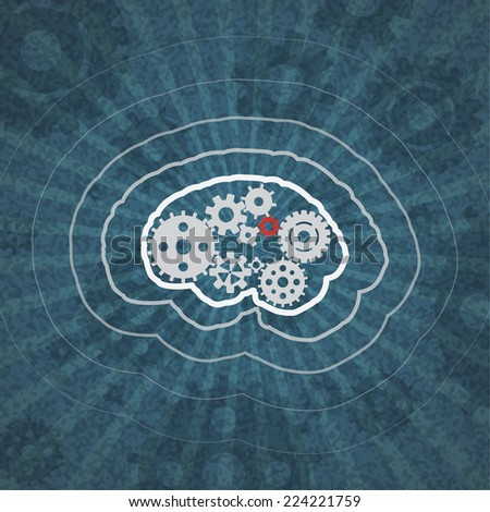 concept vector icon of abstract brain or mind with cogwheels - stock vector