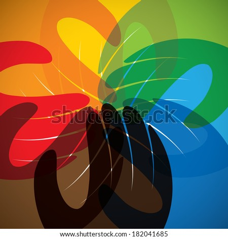 concept vector icon of partnership, friendship, teamwork. This graphic in circle also represents unity, solidarity, children & kids, commitment, people community - stock vector