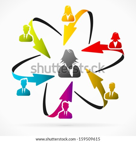 Concept vector illustration about business woman leader  - stock vector