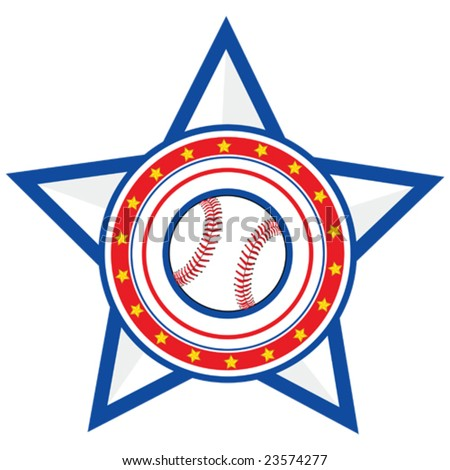 Concept vector illustration of a baseball over a red and blue background with stars