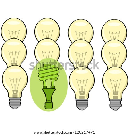 Concept vector illustration showing a green fluorescent lamp standing out among regular incandescent ones