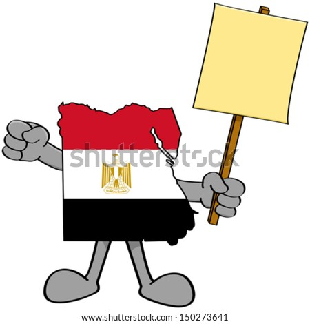 Concept vector illustration showing a map of Egypt holding a protest sign - stock vector