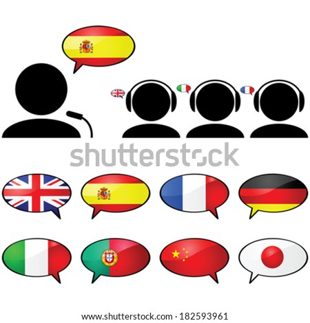 Concept vector illustration showing a person talking in one language and three other people listening in their own language using headphones - stock vector