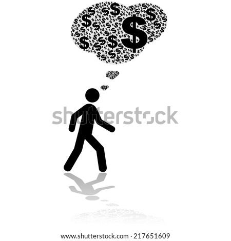 Concept vector illustration showing a person walking and thinking only about money