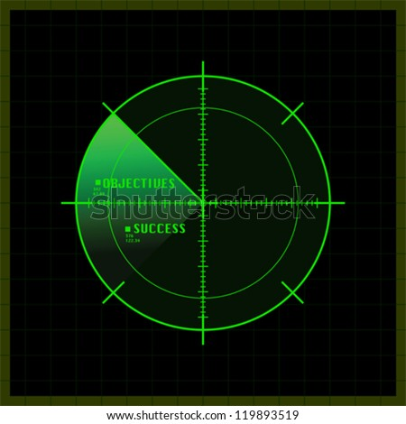 Concept vector illustration showing a radar screen having just spotted the location of objectives and success - stock vector