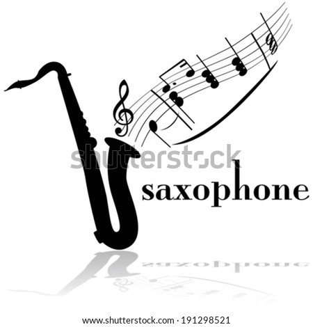 Concept vector illustration showing a saxophone with musical notes floating out of it - stock vector
