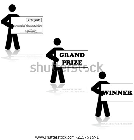 Concept vector illustration showing a stick figure character holding a cheque for being a Grand Prize winner in a contest - stock vector