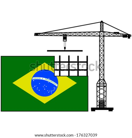 Concept vector illustration showing the flag of Brazil and a crane helping to build it - stock vector