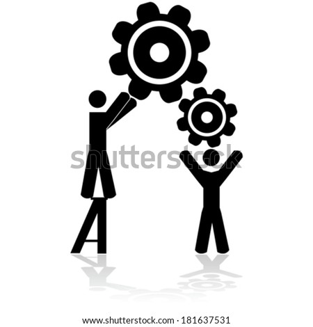 Concept vector illustration showing two people working together to assemble machine gears