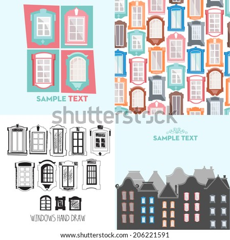 Concept vector illustration with windows. Seamless background of windows, silhouette of buildings, decorative window, hand-drawn window. - stock vector