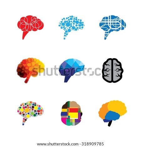 concept vector logo icons of brain and mind. this graphic also represents creativity, brilliance, capacity, capability, prowess, faculty, genius, logic and logical - stock vector