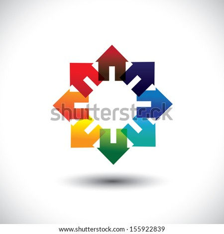 Concept vector of construction industry -  circle of colorful homes. The graphic contains home icons or signs in red, orange, yellow, blue, pink and other vivid and vibrant colors - stock vector