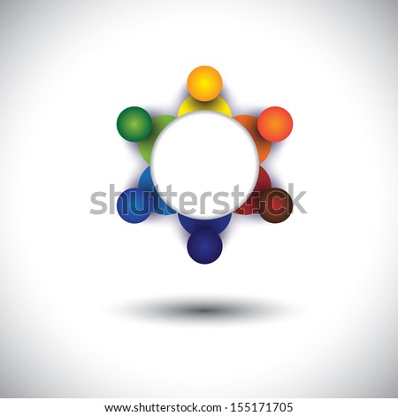 concept vector of employees, workers or executives meeting in circle. The graphic also represents social media interaction & engagement, children talking in school, workers discussions, community talk - stock vector