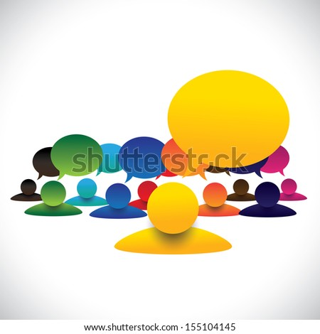 concept vector of leader & members talking, manager meeting employees. The graphic also represents communication of president or ceo with employees, school captain with children, army chief & soldiers - stock vector