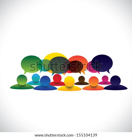 concept vector of people group talking or employee discussions. The graphic also represents social media interaction & engagement, children talking in school, workers opinion, community talk - stock vector