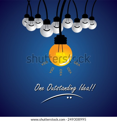 concept vector of stand out idea, winning solution. This also represents being different, thinking differently, taking new path, individuality, creativity, boldness, enterprise, entrepreneur thinking - stock vector